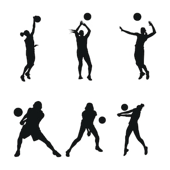Set woman volly ball beach or team work logo illustration