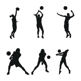 Set woman volly ball beach or team work logo illustration