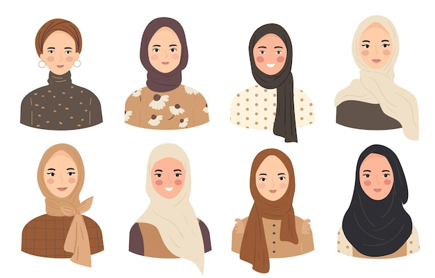 Set of woman wear hijab trendy style various woman character avatar