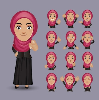 Set of woman with different emotion