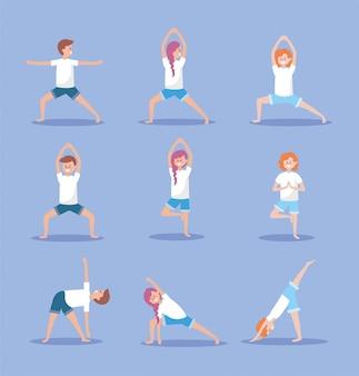 女性と男性の練習ヨガの練習の位置を設定します