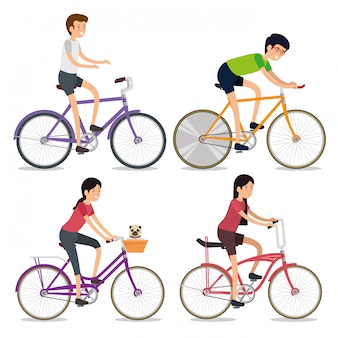Набор женщин и мужчин, езда на велосипеде спорт