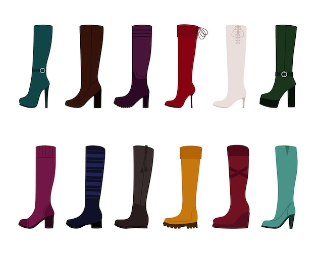 Set of women boots on white background, vector illustration