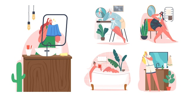 여성의 일상적인 개념을 설정합니다. 젊은 여성 캐릭터 아침 위생 절차 목욕 또는 샤워, 빗 머리