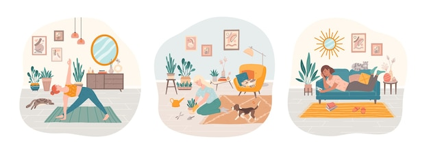 Set of women doing yoga, surfing internet, cultivating home garden with their domestic pets.