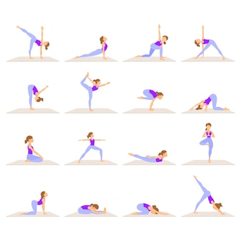 Set of women doing yoga