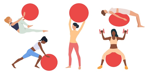 Set of women exercising with swiss balls