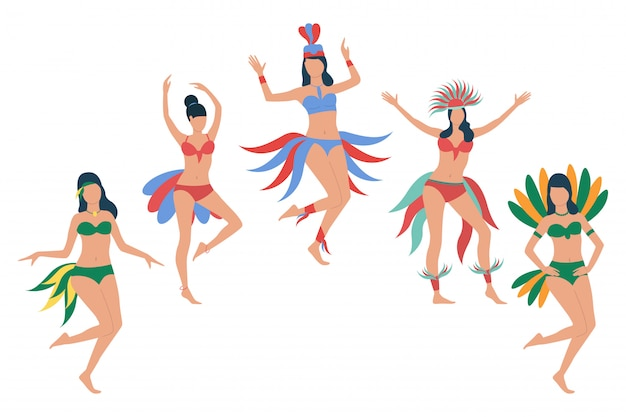 Set of women in feather bikini costumes