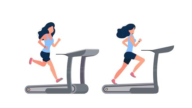 Set of women illustrations in shorts running on a simulator