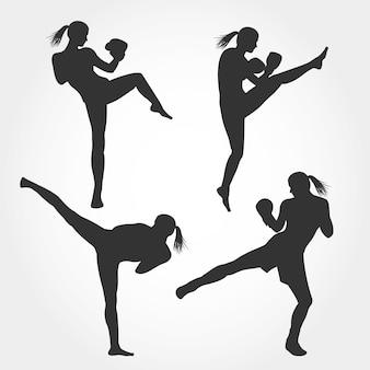 Set of women kickboxing silhouette