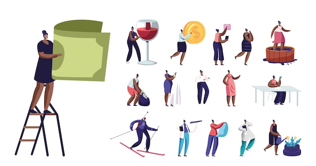 Set of women lifestyle, tiny female characters with huge bill , wine glass and coin, girls collect trash, hold dress, watering flowers isolated on white background. cartoon people vector illustration