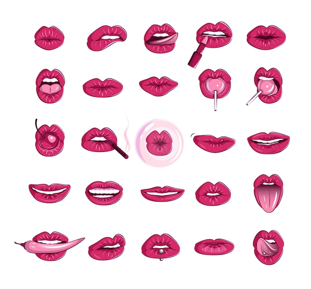 Set of women lips and mouth erotic puffy lips stickers