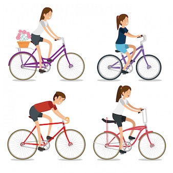 Set women and man riding a bicycle