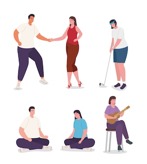 Set of women and men doing activities design of activity and leisure