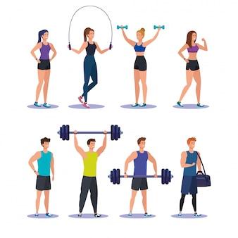Set of women and men practice sport activity