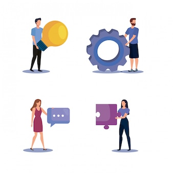Set of women and men teamwork with office icons