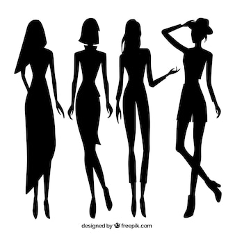 Set of women model silhouettes