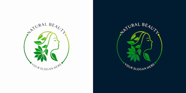 Set of women natural beauty abstract logo with line art style logo .spa therapy logo concept. premium vector