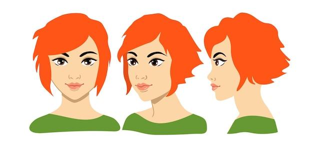 Set of women portrait three different angles closeup cartoon threequarter of a girl face