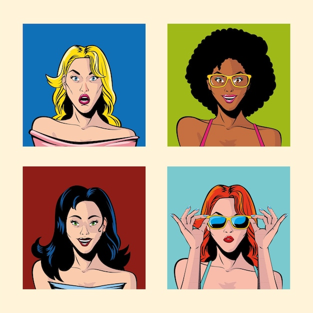 Set of women portraits, pop art style illustration design