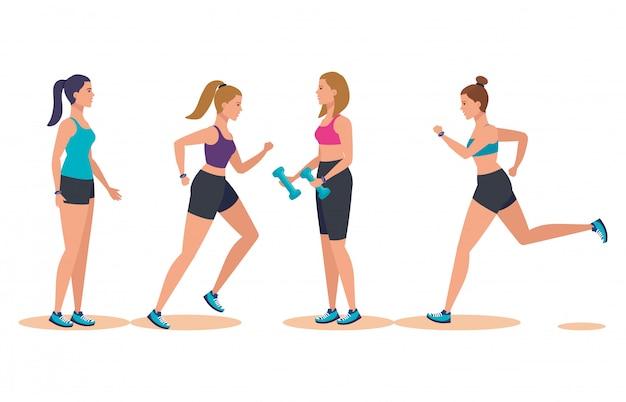 Set of women practice sport activity