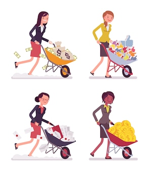 Set of women pushing wheelbarrows with coins, moneybags, likes, documentations