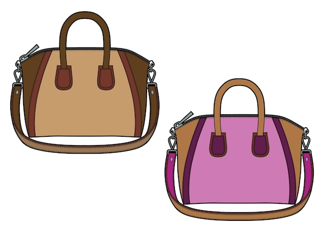 Set of women's classic leather bag. colored sketch.