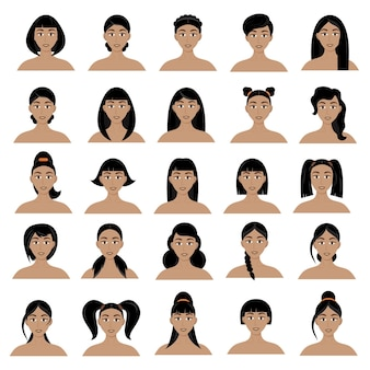 Set of women's hairstyles. beautiful young brunette girls with different hairstyles isolated on a white background.