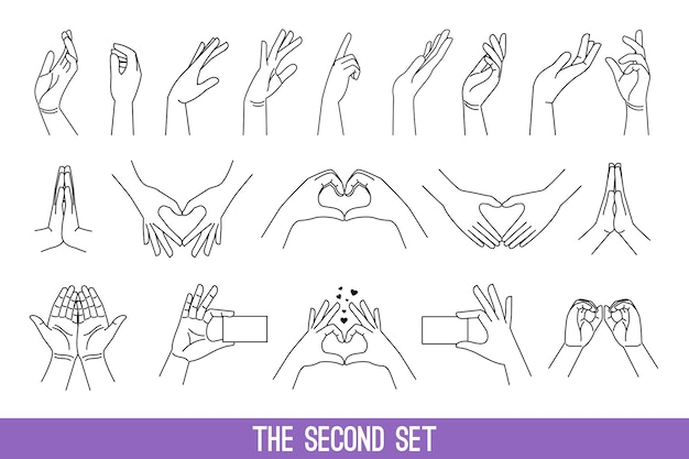 Set of women's hands in linear style showing hearts and making pray gestures