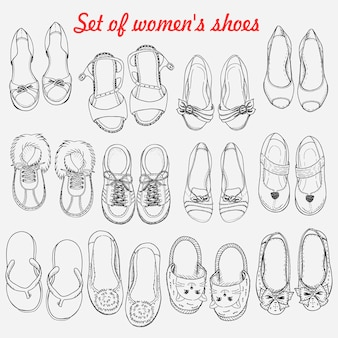 Set of women shoes on white background