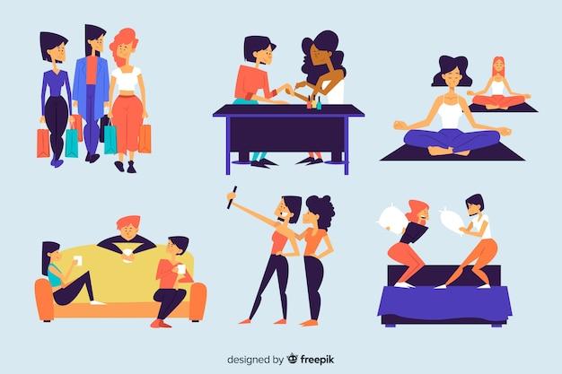 Set of women spending time together