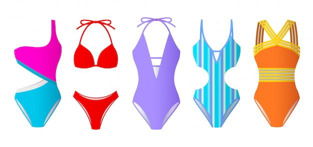 Set of women swimsuits, colorful bikini and monokini