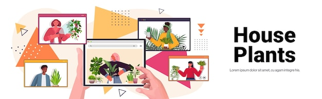 観葉植物の世話をしている女性を設定しますウェブブラウザウィンドウの縦向きの水平コピースペースでビデオ通話中に議論しているレースの主婦を混ぜます