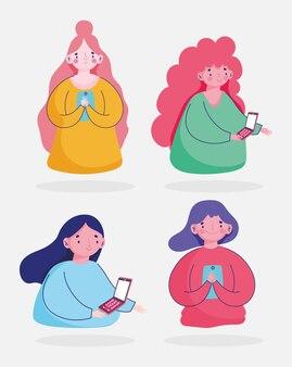 Set of women using smartphone device cartoon