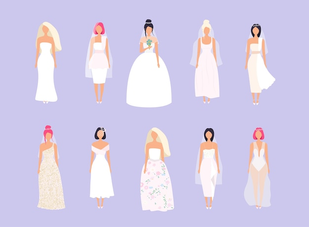 Set of women in wedding dresses in different styles.  illustration.