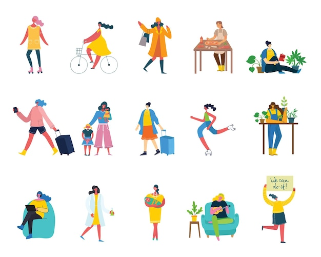 Set of women with different activities.