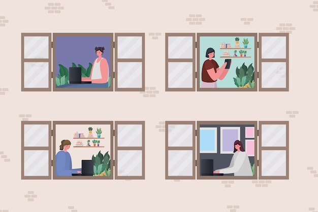 Set of women with laptop working at window design of work from home theme