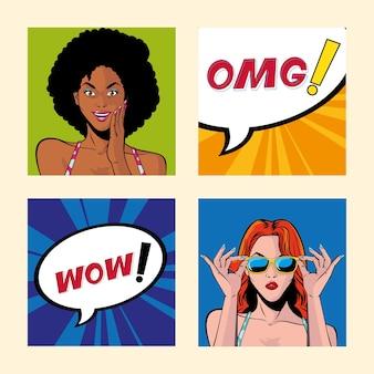 Set of women with speech bubble, style pop art illustration design