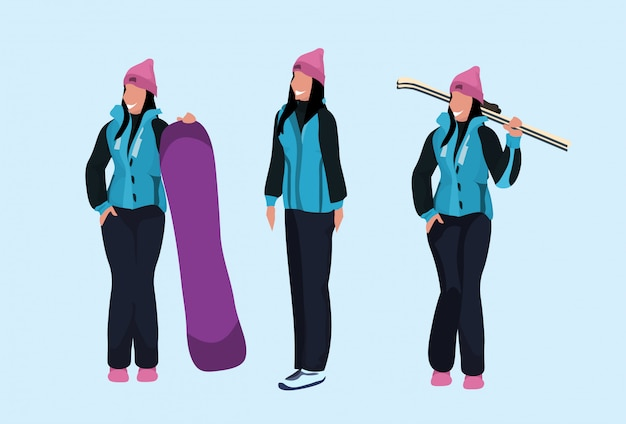 Set of women with winter clothing and winter sport equipment