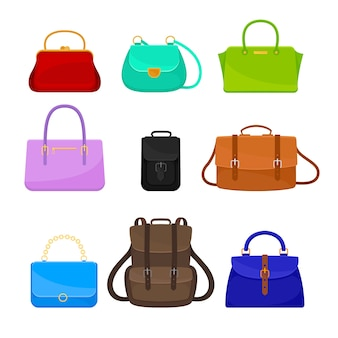 Set of womens bags and backpacks of different shapes and colors
