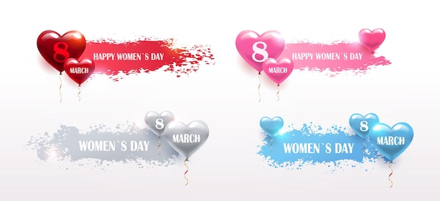Set womens day 8 march holiday celebration banners flyers or greeting cards with air balloons brush stroke horizontal illustration