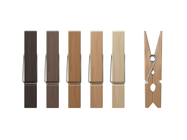 Set of wood clothespins pegs colored on background