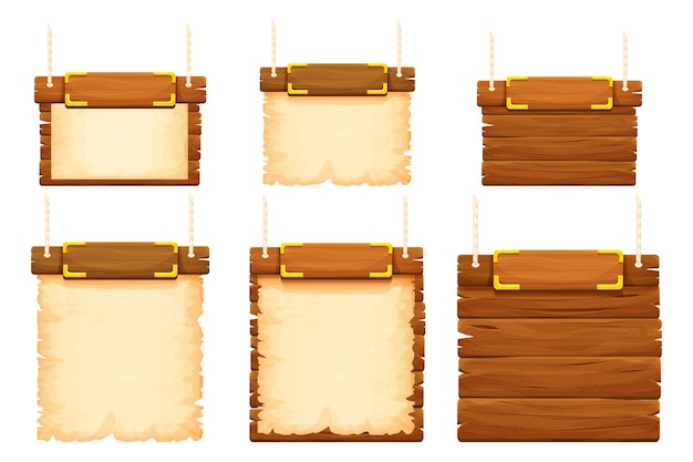 Set wood frames banners with gold details old parchment and rope in cartoon style