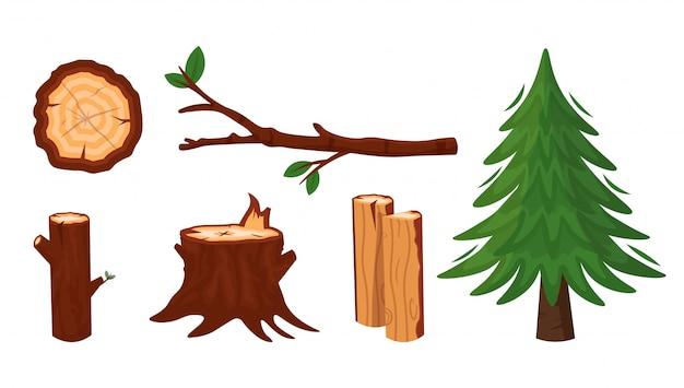 Set of wood industry. raw hardwood materials.