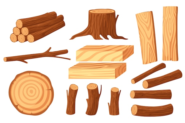Set of wood logs for lumber industry with trunks stump and planks flat  illustration isolated on white background