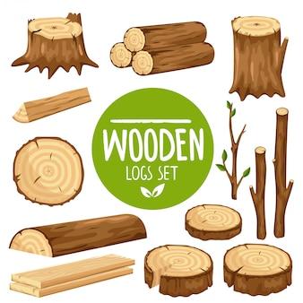 Set of  wood logs