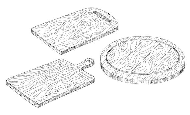 Set wood rectangular and cutting board. vintage vector hatching monochrome black illustration.