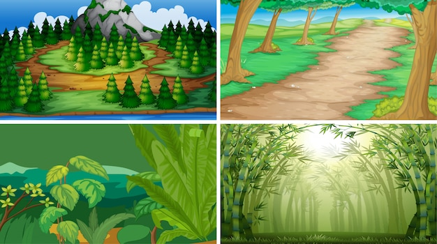 Set of wood scenes background