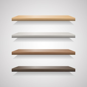 Set of wood shelves on grey background