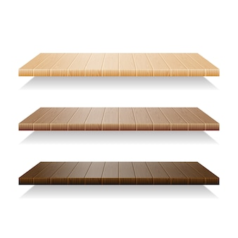 Set of wood shelves on white background